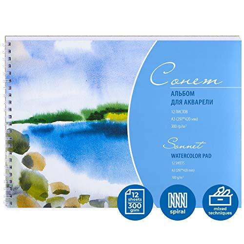 Sonnet Aquarellblock A3 für Wasserfarben   Aquarellpapier 12x300g mit Spiralbindung & Skizzenbrett   Made in Russia by Neva Palette