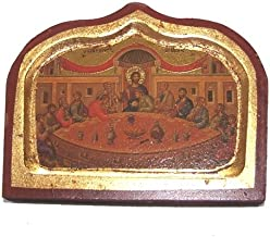 Holy Land Market Last Supper Icon with Sheets of Gold (Lithography) (4.3 x 3.4 inches)