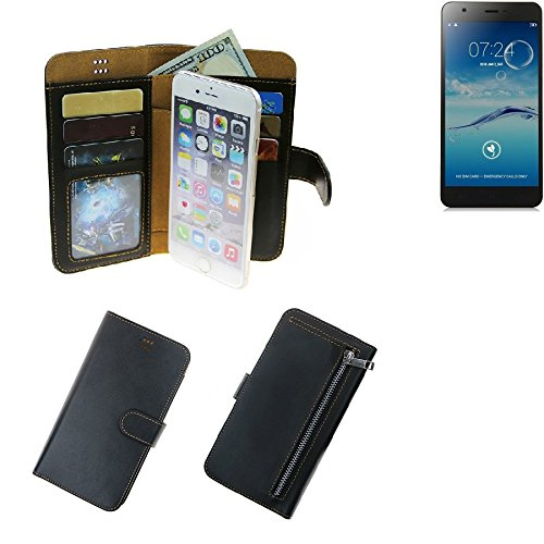 K-S-Trade® Für Jiayu S3+ Schutz Hülle Portemonnaie Case Phone Cover Slim Klapphülle Handytasche Schutzhülle Handyhülle Schwarz Aus Kunstleder (1 STK)