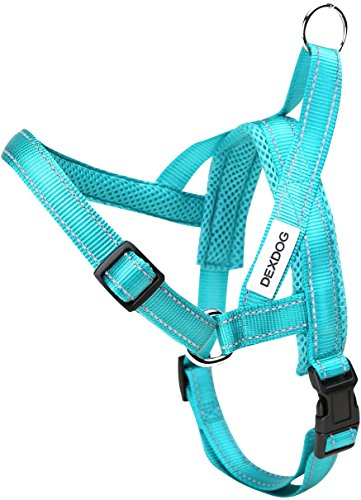 DEXDOG #1 Best Dog Harness — EZHarness On/Off Walk in Seconds! [Turquoise Large L] — Easy Quicker Step in Dog Harness Vest — Puppy No Pull Reflective Mesh Handle Adjustable Training
