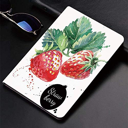 Case for iPad (9.7-Inch, 2018/2017 Model, 6th/5th Generation)Ultra Slim Lightweight Smart Cover,Watercolor,Appetizing Strawberries with Hand Drawn Style Brush Marks Good E,Smart Covers Auto Wake/Sleep