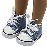 Mingfa Puppenschuhe, Sneakers zum Schnüren aus Leinen, für 45,7-cm-Puppen (18 Zoll), z.B. Our Generation, American Girl/Boy (Braun) -