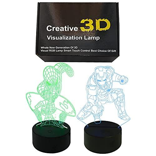 3D LED Luz De Noche Marvel, Lampara de mesa, Spiderman + Ironman, 16 colores, Mando a distancia + cargador usb