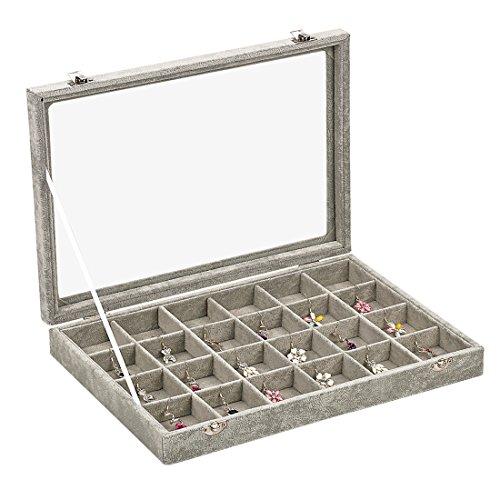 Ivos 24 Fächer Damen-Schmuckkasten Schmucklade Ringbox Schmuckkästchen für Halskette, Armband, Ringe und Ohrringe grau