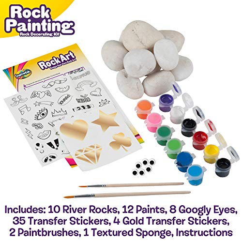 Rock Painting Outdoor Activity Kit for Kids – DIY Art Set w/ 10 Hide and Seek Stones, 12 Acrylic Paint Tubes