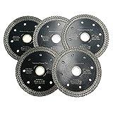 JINYIWEN Disco de Corte Disco de Corte 5pcs / Set 4'4.5' o 5 Pulgadas Disco de Corte prensado en Caliente Rueda de Corte de Diamante Malla Hojas de Sierra Turbo para baldosas de mármol5pcs 115MM