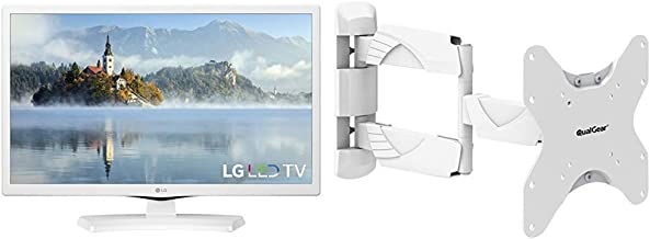 LG Electronics 24LJ4540-WU 24-Inch 720p LED TV (2017 Model) & QualGear QG-TM-005-WHT 23-Inch to 42-Inch Premium Quality Contemporary Style Ultra Low Profile Full Motion Wall Mount LED TVs, White
