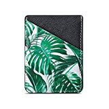 TY-Box Cell Phone Sleeve Card Holder Adhesive Wallet Sleeve 2 ID/Credit Card Slot Pocket Pouch Stick on Smartphone for iPhone 11/SE/XR,Samsung Galaxy S20 Note10 Plus A50 A70 (Black Tropical leaves)