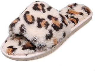 Pantuflas con Estampado De Leopardo De Otoño E Invierno para Damas Pantuflas De Animales Pantuflas Cálidas De Interior Pan...