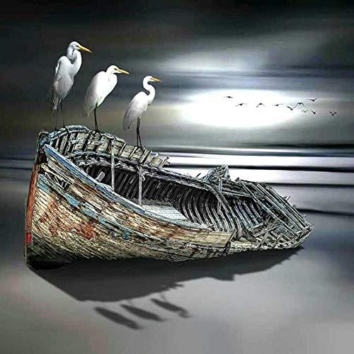 5D Diamant Olie Schilderen door Digitale Schilderij Kit Volledige Diamant DIY Kunst Ambachten Geschikt voor Thuis Wanddecoratie Boot Zee Vogels Schilderen 50x50cm