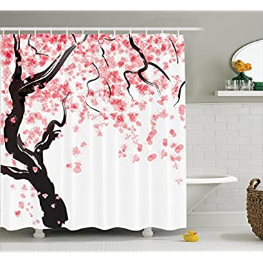 Ambesonne House Decor Shower Curtain Set By, Japanese Cherry Tree Blossom In Watercolor Painting Effect Oriental Stylized Art Deco, Bathroom Accessories, 69W X 70L Inches, Black Pink