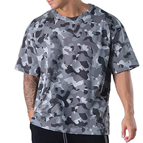 Magiftbox Camisas de entrenamiento para hombre de manga corta de gran tamaño, casual, gran hip-hop, gimnasio, camisetas de calle para hombres T39 - gris - Large