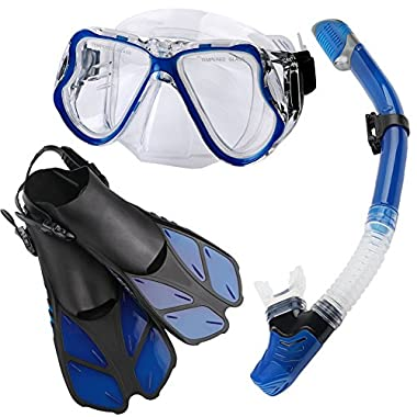 Zentouch Snorkel Set, Diving Mask with Easy Ajustable Strap 180° Panoramic View and Free Breathing Best Anti-fog Anti-leak Snorkel Mask for Adults and Kids