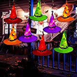 Green Convenience Halloween Decorations Witch Hat, 8 Pcs Witch Hats String Light, Halloween Decorative Lights for Garden, Indoor, Yard, Tree, Party