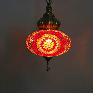 Turkish Lantern Pendant Lamp, Retro Handmade Mosaic Glass Chandelier, Moroccon Tiffany Style, Restaurant Romantic Bar Pendant Lights (Color : Red)