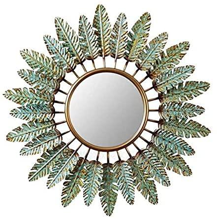 SGSG Espejo Decorativo De Montaje En La Pared 3D, Espejo De Pared Decorativo Antiguo, Entrada Creativa Espejo Decorativo Restaurante, Salones, Baños Espejo Colgante De Flor, Verde,31.5 X 31.5 IN