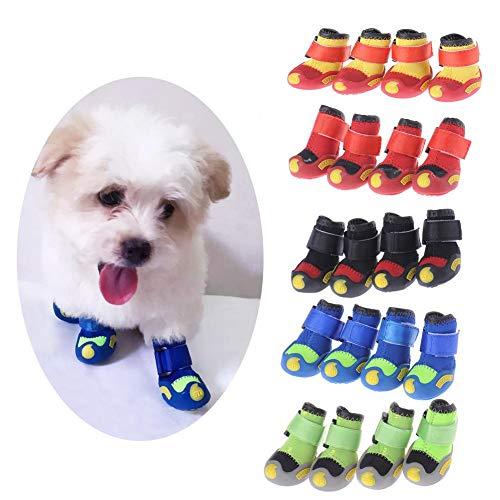 Wonderday 4 stuks hondenlaarzen, waterdicht, antislip, zachte laarzen voor puppy's, #4, beige
