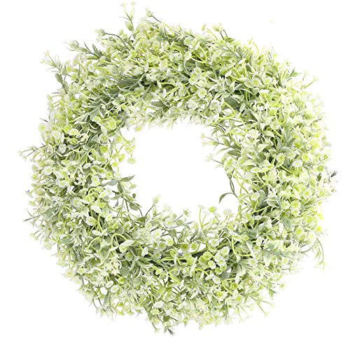 HUAESIN 17' Artificial Baby's Breath Flower Wreath White Floral Wreath Welcome Farmhouse Door Wreath for Front Door Wedding Wall Window Home Decor Backdrop