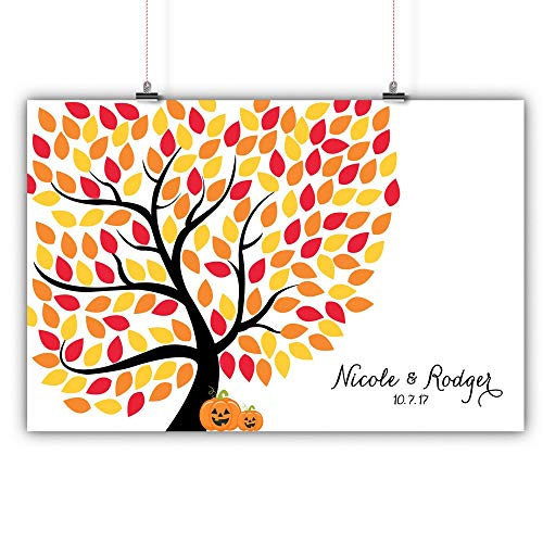Personalized Wedding Tree Guest Book Alternative October Halloween Pumpkins Customized Poster, Print, Framed or Canvas, 150 Signatures