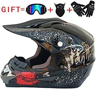 Leoie Fashion Outdoor Off Road Casco Motorcycle & Moto Dirt Bike Motocross Racing Helmet Set(Goggles & Cycling Mask & Cycling Gloves) Bright black floral S
