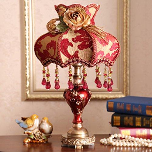 ZWL Luxurious High-grade atmosphérique pastorale Tissu princesse lampe de bureau peints à la main lampe de chevet chambre de lit fashion.z ( Couleur : Rouge , conception : B )