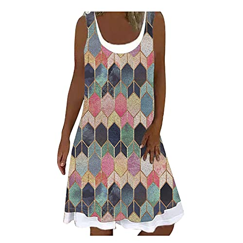 Fascino-M Damen Retro Kleid Sommerkleid Lang Kleid Knielang Neckholder Kleid Frauen Strandkleid Ärmellos Abendkleider Damen Knielang Partykleid