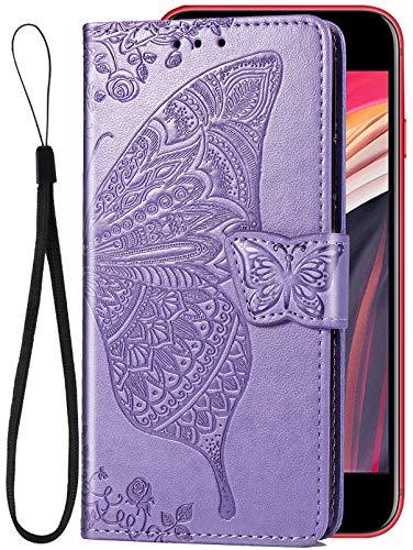 I Phone Se 2020 Schutzhülle mit Schmetterlings-Motiv, kompatibel Apple 8 SE2020 Hülle, Flip-Folio, Girly iPhone 2 S E 202020se, 7 8, 11,9 cm (4,7 Zoll), Hellviolett