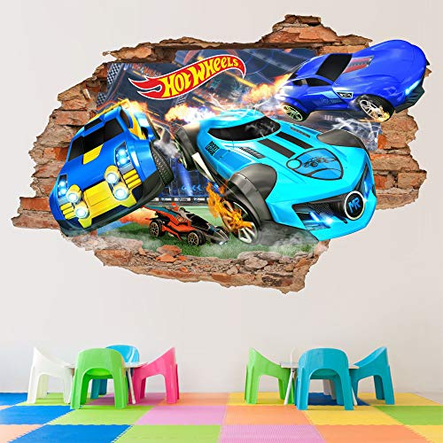 Hot Wheels 3D Wandtattoo Spielzeug Wandaufkleber Autos Abnehmbare Vinyl Aufkleber Wandkunst Kinder Cartoon Decor 2