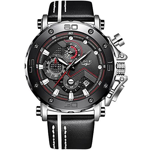 LIGE Relojes Hombre Impermeable Sports Cronógrafo Relojes Moda Casual Analógico Cuarzo Relojes Negro Militar Cuero Grande Esfera Relojes