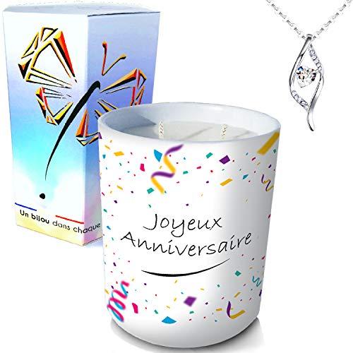ArtGosse - Vela con joya de plata decorada con cristales de Swarovski® • Vela 2 mechas de decoración regalo de cumpleaños confeti de cera vegetal, perfumada monoï de Tahití • Colgante ADN