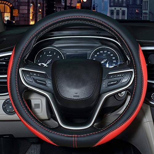 SHIAWASENA Auto Car Steering Wheel Cover, Universal 15 Inch Fit, Microfiber Leather, Non-Slip, Breathable (Black&Red)