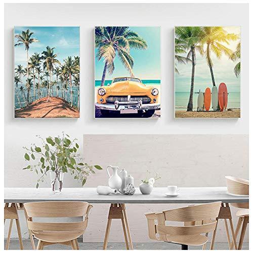 Mar Coconut Tree Starfish Tabla de surf Arte de la pared Pintura en lienzo Carteles nórdicos e impresiones Cuadros de pared para la decoración de la sala de estar 50X70cm 20x28 pulgadas Sin marco