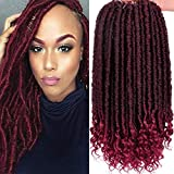 6Packs Goddess Faux Locs Crochet Hair 16 Inch Straight Goddess Locs with Curly Ends Synthetic Crochet Hair Braids for Women(1B-BUG#)