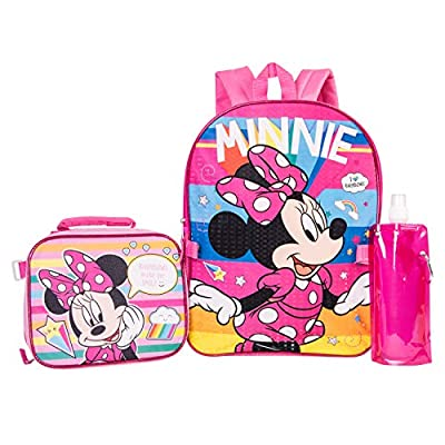 Minnie Mouse Backpack Combo Set - Disney Minnie Mouse Girls' 4 Piece Backpack Set - Backpack & Lunch Kit (Pink)