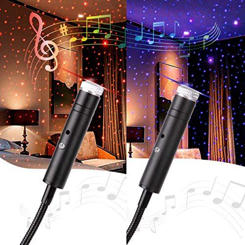 Aevdor - Luz de estrella USB activada con sonido, 2 paquetes, luces románticas para techo, luces de noche USB para dormitorio, coche, fiesta, techo y más (1 unidad azul violeta y 1 rojo)