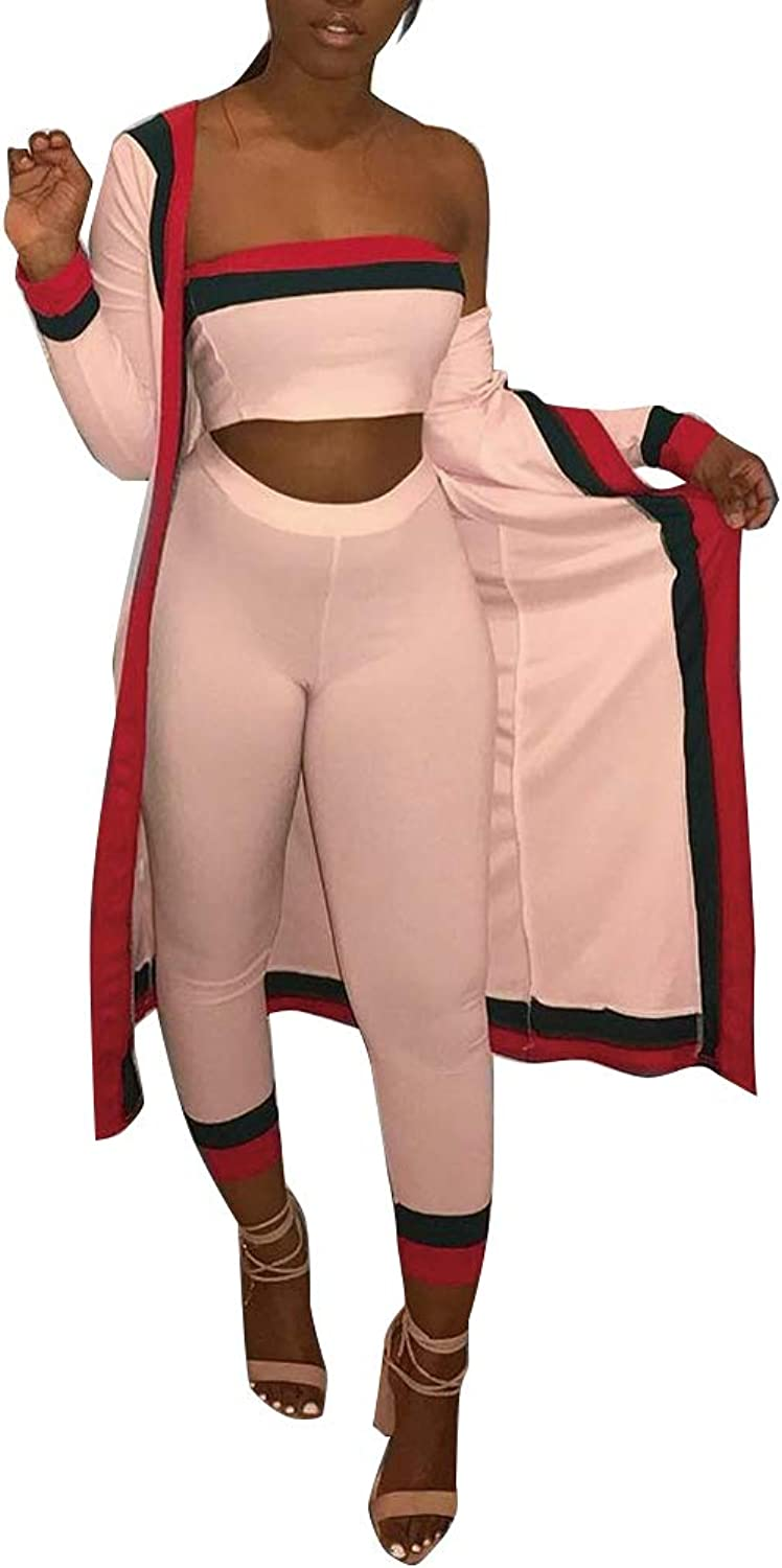 Nhicdns Womens Sexy 3 Piece Outfits Long Sleeve Open Front High Waist Cardigan