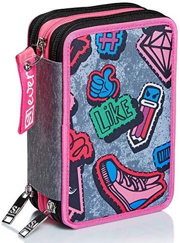 Astuccio 3 Scomparti SJ Gang, SJ Ever, Rosa, Completo di penne, matite colorate, pennarelli…
