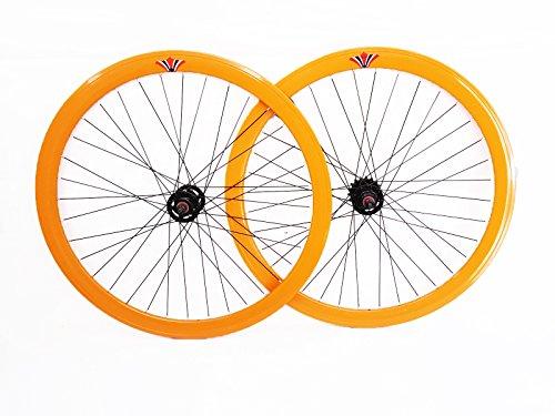 Cerchi Ruote Anteriore + Posteriore 28' Bici 700X23 622 Fixed Corsa Arancione