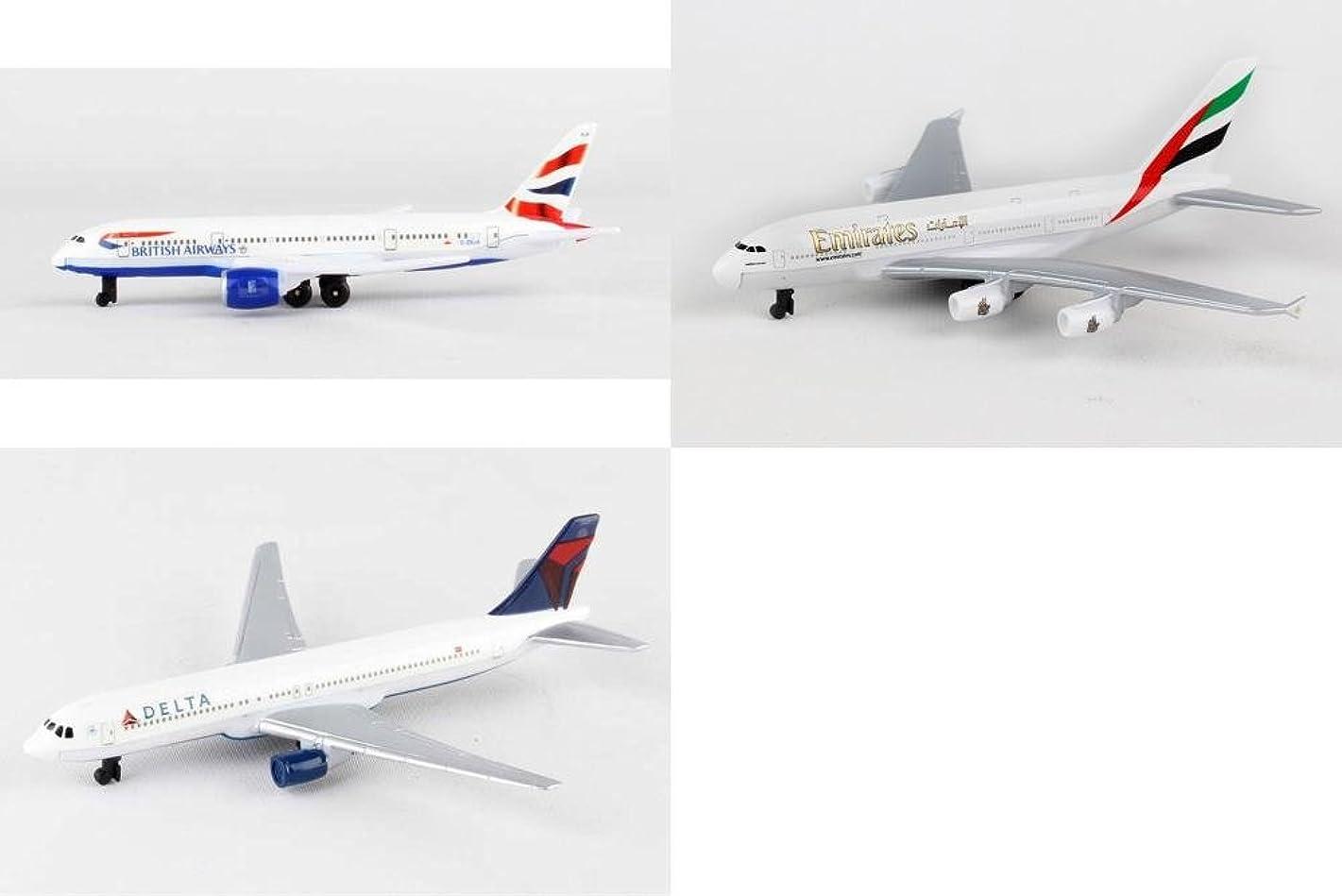 British Airways, Emirates, Delta Airlines Diecast Airplane Package - Three 5.5
