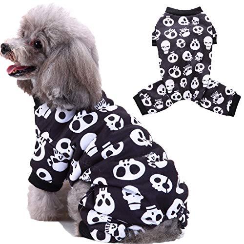 Mono de perro de Halloween suave y cmodo disfraz de fantasma cabeza de crneo para mascotas ropa de traje de esqueleto para cachorros gatos