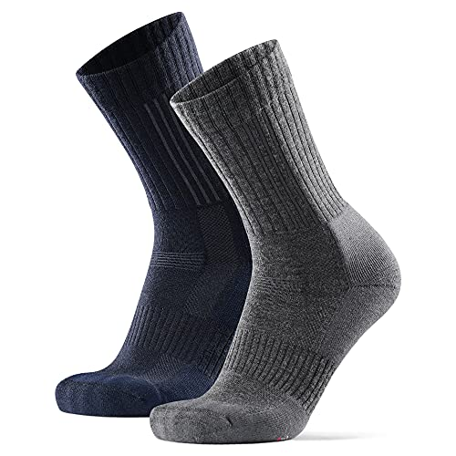 Premium Merino Wool Hiking Socks 2 Pack, for Men & Women, Thermal, Anti-Blister (Multicolour: Navy, Grey, UK 9-12    EU 43-47)