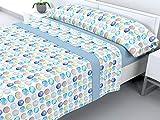 Cabello Textil Hogar - Juego de sábanas de coralina con 3 Piezas Extremadamente Suaves y cálidas Mod. Bubbles (Azul, Cama de 105 cm (105_x_190/200 cm))