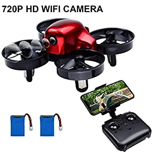 HD HARUDONE Drone with Camera, Mini Drone Aircraft RC Quadcopter with Wifi HD Camera VR Mode Headless Mode Altitude Hold 360° Flip Stunts Gifts Gadgets for Children Teenagers Adults (New Version Red)