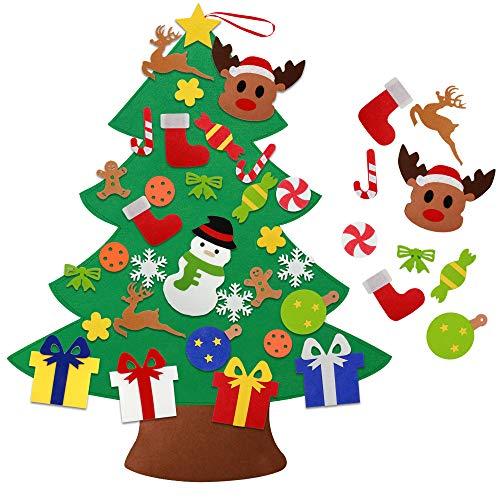 HusDow DIY Felt Christmas Tree with 31pcs Ornaments 3.2ft Family 3D Fake Xmas Tree for Kids Toddlers Home Door Window Wall Christmas D¨¦cor