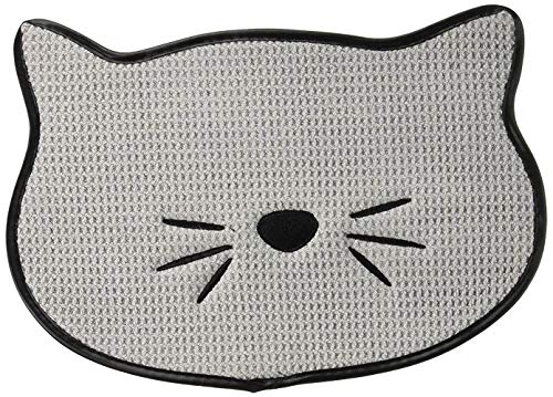 Bone Dry Embroidered Microfiber Cat Shape Pet Food & Water Placemat-Gray