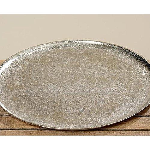 Deko-Tablett, Serviertablett Phönix in silber aus Aluminium, rund, Ø ca. 43 cm