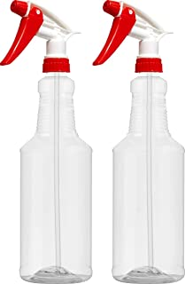 Empty Plastic Spray Bottles 32 oz, Crystal-Clear, PETE1 BPA-Free Food Grade, Red/White N8 Fully Adjustable Sprayer, Pack of 2