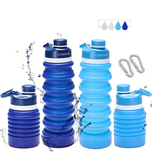 COOZOOM Collapsible Water Bottles BPA Free 750ml / 25oz Food Grade Silicone Leakproof Portable Reusable Expandable Folding Compact Lightweight for Travel Camp Hike Outdoor Sprots Blue