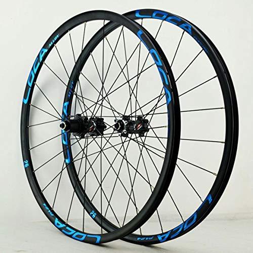 ZNND 26' 27.5' 29' 700C Juego Ruedas De Bicicleta Trasero/Delantero Doble Capa Aleación Bici Llantas Pequeña Spline Liberación Rápida Freno Disco 7-12 Velocidades (Color : Black Hub Blue Logo)