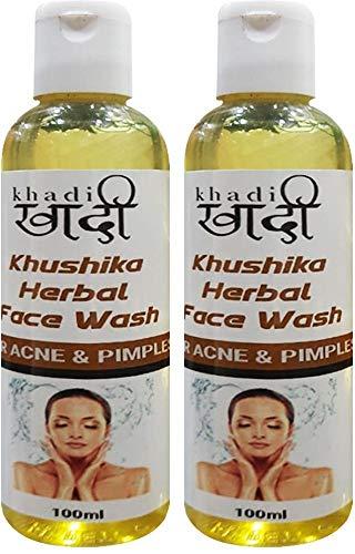Khadi Khushika Herbal Natural Mild Face Wash for Daily Cleansing and Caring - Ayurvedic (Pack Of 2) Cleansing | Anti-dullness | Oil Control | Refreshing 100 ML